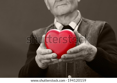 Closeup, cropped, black white portrait, hands senior, elderly, man, grandfather holding red heart in hands, isolated dark background. Human emotions, expressions. Old people health. Love, compassion  - stock photo