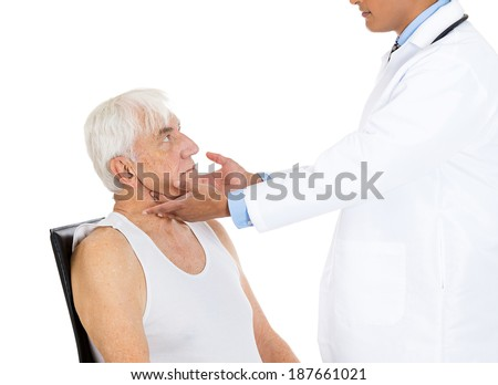 Closeup cropped image, doctor performing physical exam, palpation of lymph nodes. Young male physician and elderly sick patient, isolated white background. Patient visit, appointment, care concept - stock photo