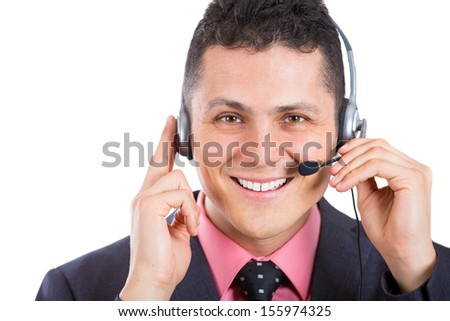 Closeup cropped portrait of a male customer service representative or call center agent or support operator with headset, isolated on a white background. Businesspeople, corporate life and career.  - stock photo