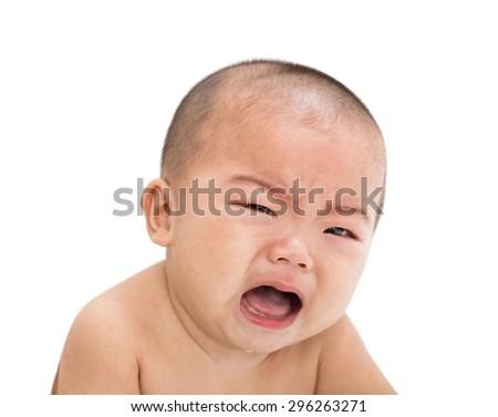 closeup crying asian baby boy - stock photo