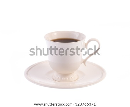 closeup cup of coffee isolated on white background - stock photo