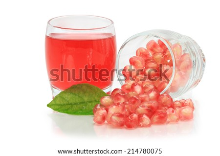 Closeup detail Fresh red ripe pomegranate seeds nature fruit  isolated on white background. This has clipping path. - stock photo