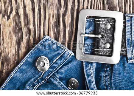 Closeup detail of a blue jeans - stock photo