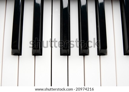 Closeup detail of a piano keyboard