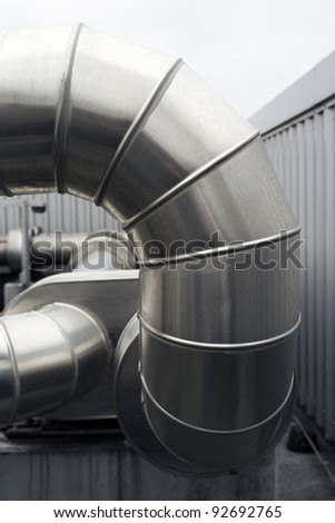 Closeup  detail of large metal  heating ducts