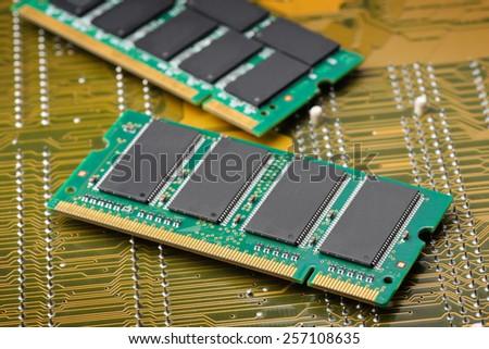 closeup details of computer memory (RAM) - stock photo