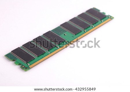 closeup details of computer memory (RAM) isolated on white background  - stock photo