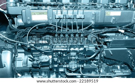 closeup details of diesel engine - stock photo