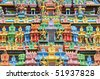 Closeup Details Of Facade Of A Hindu Temple - stock photo