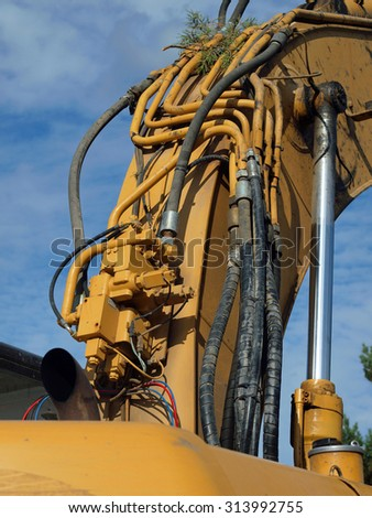 Closeup Details of Heavy Duty Construction Equipment - stock photo