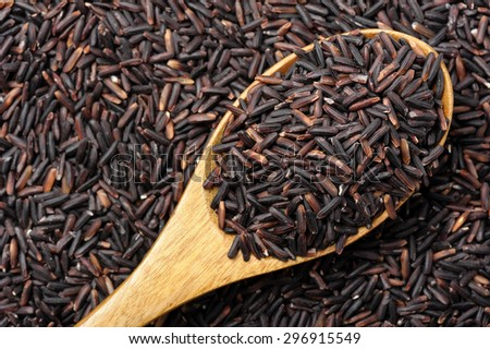 closeup details of Thai rice berry, rice berry is a cross-bred unmilled rice possessing dark violet grain and Thai Hom Mali Rice.