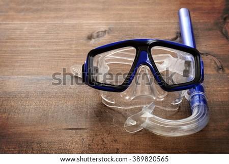 closeup diving mask and snorkel - stock photo