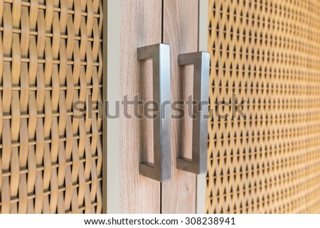 Closeup Door handles, handles wardrobe - stock photo