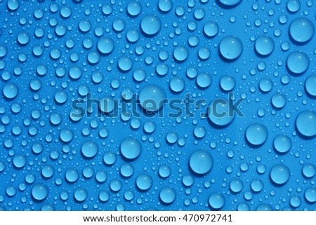 closeup drops water on blue background
