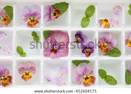 closeup Edible flowers and mint in ice cubes tray on white vintage linen background