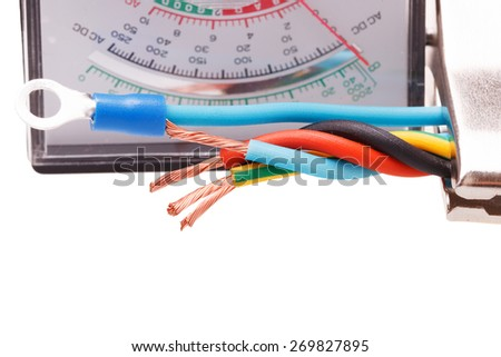 Closeup electric cable - stock photo