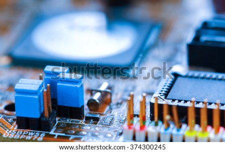 Closeup electronic circuit board vintage.