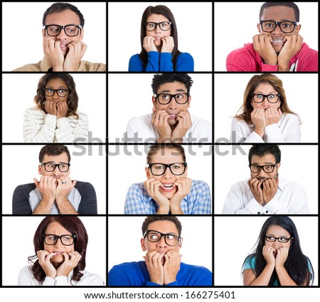 Closeup ethnic multicultural collage portrait of nervous stressed people biting fingernails looking anxious craving something, isolated on white background. Negative emotion facial expression feeling