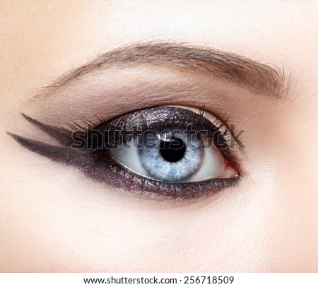 Closeup eye-zone image make-up of beautiful girl - stock photo