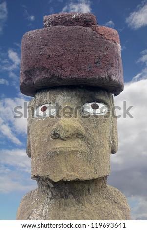 Closeup:  Eyed Moai at Tahai Beach - stock photo