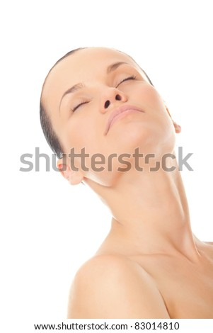 closeup face beautiful woman with fresh clean skin and closed eyes isolated over white background - stock photo