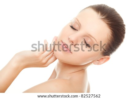 closeup face beautiful woman with healthy clean skin and closed eyes isolated over white background - stock photo