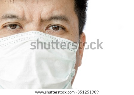 Closeup face of a doctor wearing medical mask