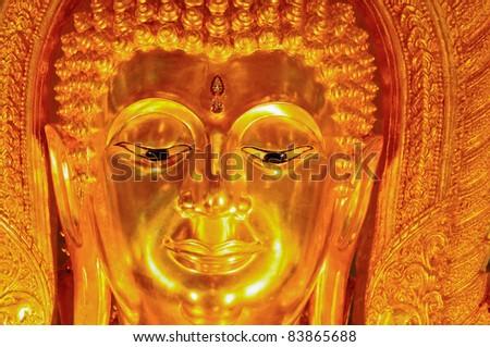 Closeup face of buddha statue at wat Thasung, Uthai thani, Thailand - stock photo