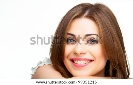 Closeup face of happy  smiling woman isolated on white - stock photo