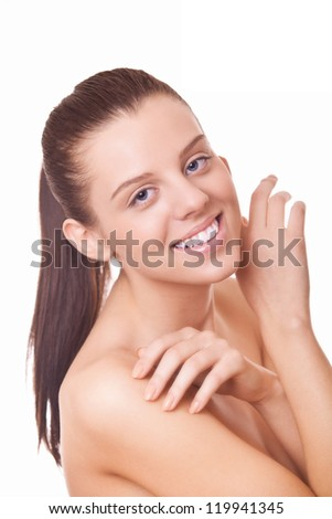 closeup face smiling woman with healthy clean skin - stock photo