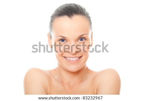 closeup face woman with healthy clean skin isolated over white background - stock photo