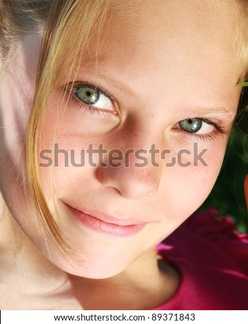 Closeup face young girl