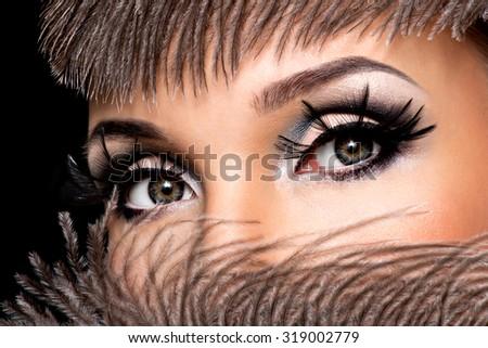 CLoseup female eye with beautiful fashion makeup with long false eyelashe - stock photo