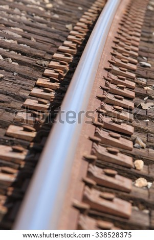 Closeup few of a rosty train track. - stock photo