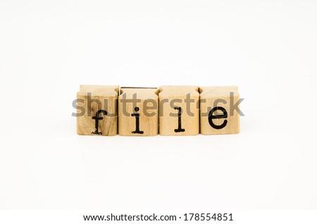 closeup file wording isolate on white background - stock photo
