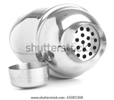 closeup fo metal shaker on white background