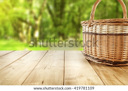 closeup fo picnic basket  - stock photo