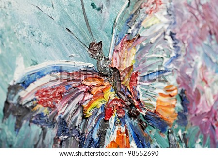 closeup fragment of oil painting butterfly image - stock photo