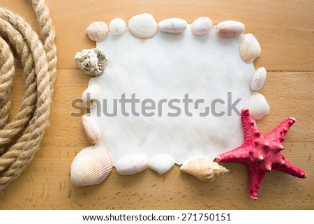 Closeup frame with copy space decorated by seashells and red starfish