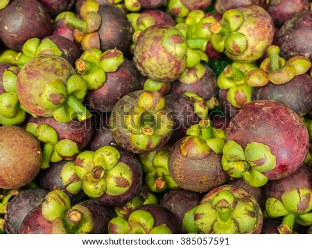 Closeup fresh mangosteen for sale at market.