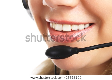 Closeup friendly customer support with headset isolated on a white background. Look other works in my portfolio. - stock photo