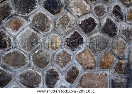 Closeup from a stone wall for background - stock photo