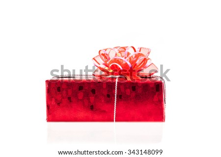 closeup gift decoration on isolated background