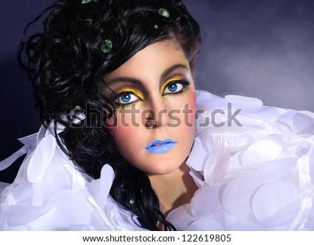 Closeup glamor portrait of a beautiful woman - stock photo