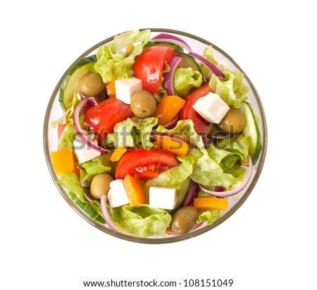 Closeup greek salad isolated on white