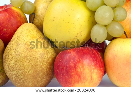Closeup group of autumn fruits (grapes, apples, pears)