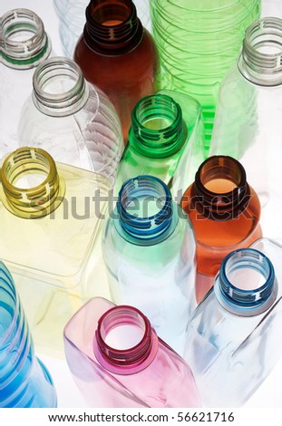 closeup group of empty plastic bottles - stock photo