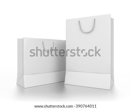 Closeup group of white rectangle blank bags isolated on white background.