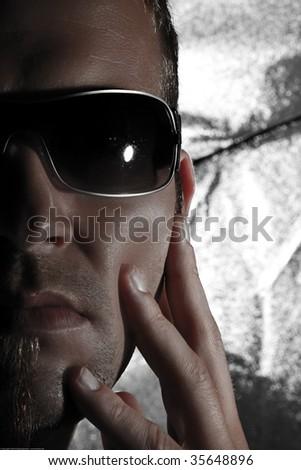 Closeup Half Face Portrait Of A Handsome Man - stock photo