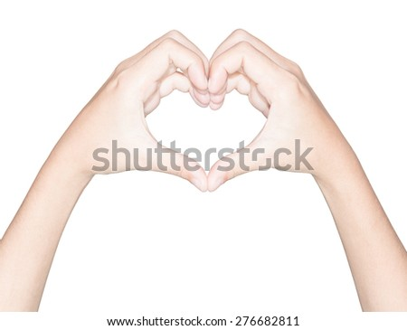 closeup hand heart love symbol isolated white clipping path inside